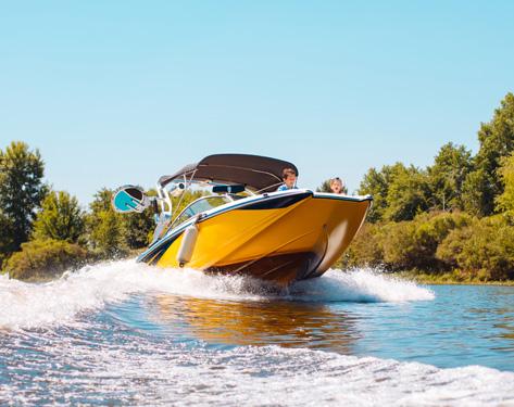 yellow boat on a lake
